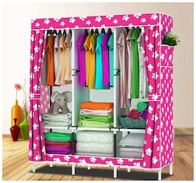 G-KAMP JAPAN Multi-Purpose Clothes Storage Wardrobe with Portable Shelves & Printed Design/Multi-Purpose Space Organizer for Bedroom