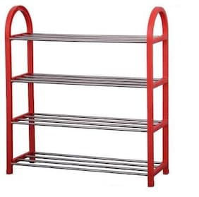 G-KAMP JAPAN Multipurpose Portable Folding Shoe Racks for Home Organizers with Water-Resistant Metal Collapsible Shoe Stand (Red;Grey4 Shelves)