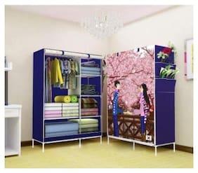G-KAMP JAPAN Multi-Purpose Clothes Storage Wardrobe with Portable Shelves & Printed Design/Multi-Purpose Space Organizer for Bedroom