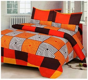 G5S Trendz Microfibre Checkered Double Size Bedsheet 200 TC ( 1 Bedsheet With 2 Pillow Covers , Multi )