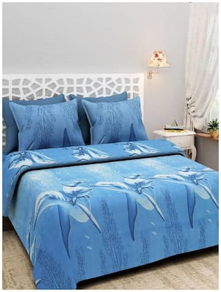 G5S Trendz Microfiber 3D Printed Double Size Bedsheet 104 TC ( 1 Bedsheet With 2 Pillow Covers , Blue )