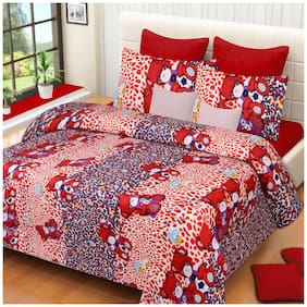 G5S Trendz Microfiber Printed Double Size Bedsheet 200 TC ( 1 Bedsheet With 2 Pillow Covers , Multi )