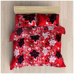 G5S Trendz Poly Cotton Floral Double Size Bedsheet 200 TC ( 1 Bedsheet With 2 Pillow Covers , Multi )