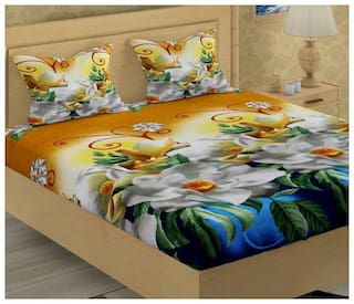 G5S Trendz Microfiber Floral Double Size Bedsheet 104 TC ( 1 Bedsheet With 2 Pillow Covers , Multi )