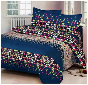 G5S Trendz Poly Cotton Printed Double Size Bedsheet 200 TC ( 1 Bedsheet With 2 Pillow Covers , Multi )