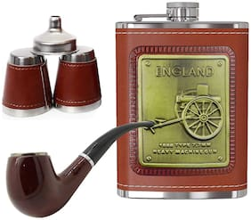 Gabbar 1149 ENGLAND Brown Hip Flask Stainless Steel With 1 Cigar;2 Glasses;1 Funnel For Alcohol Drinking| Whisky -236 ML