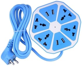 Gabbar 4 USB Hexagon Extension Board & Power Socket,Outlet Ports with 6 ft Surge Protection 2500W Multi-Faceted Safety Sockets(Blue)