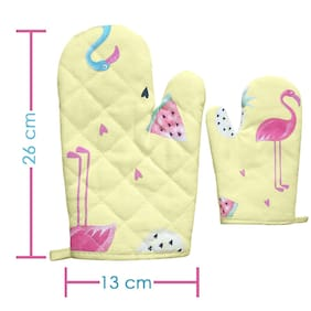 Gabbar Heat Resistant Hand Protective Insulated Oven Gloves with Extra Thickness - Yellow Bird Printed