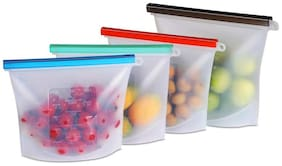 Gabbar Silicone Food Storage Container Organiser Bag 1LTR,Airtight,Ziplock,Heat and Cold Resistant,Reusable Vacuum Food,Snack,Vegetable,Meat Storage for Fridge and Microwave,4 Pc