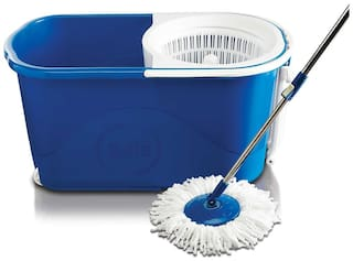 Gala Quick Spin Mop with Wheels and Bucket Floor Cleaning with 2 Microfiber Refills