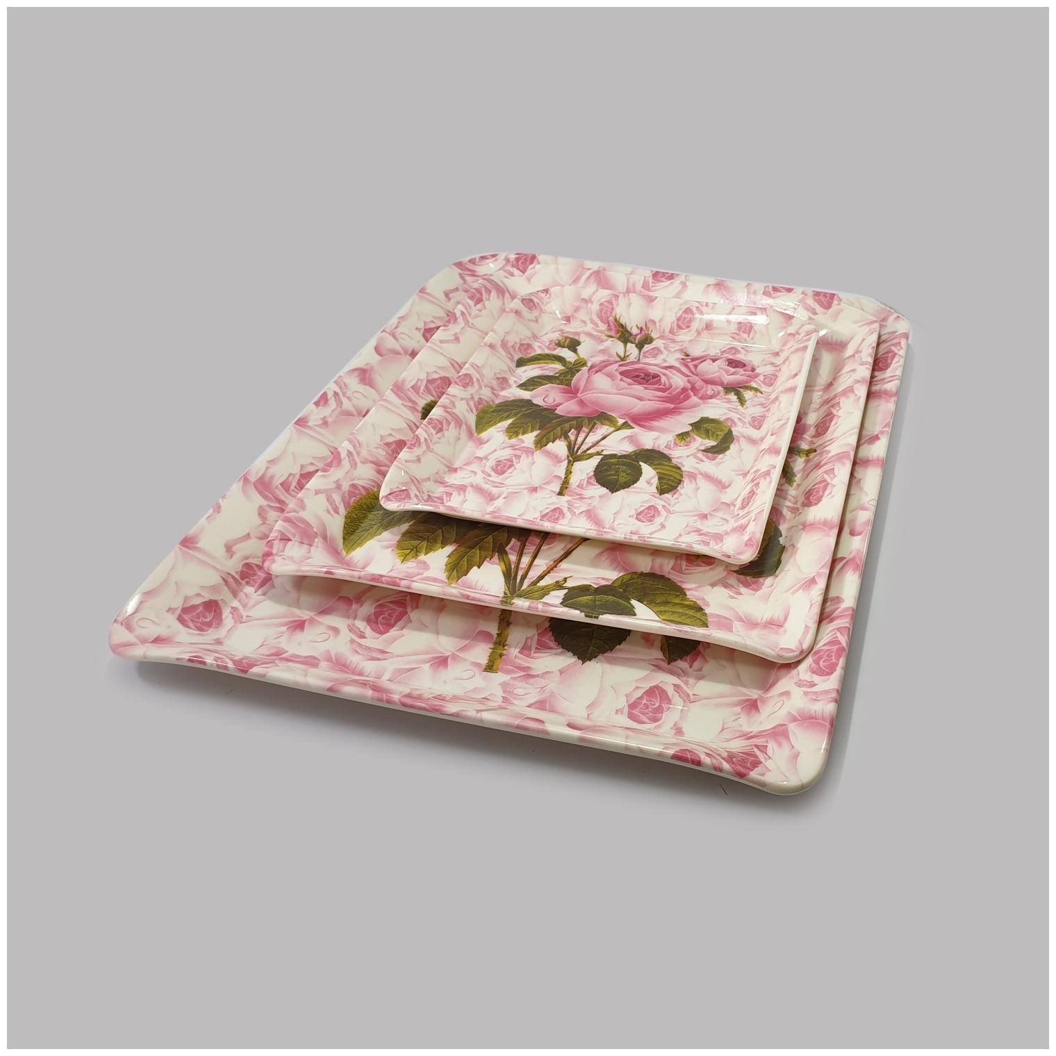 Gallery99 Ferrari Pink Rose High Grade Melamine Serving Trays - Set of...