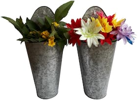 Galvanized Metal Wall Hanging Planter (Set of 2 )
