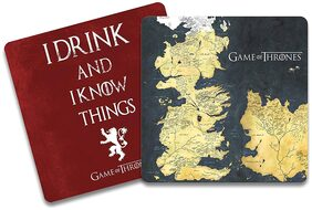 Game of Thrones - Westeros Map & I Drink Wooden Coasters Gift Set Birthday Gift Officially Licensed by HBO;USA (Pack of 2)