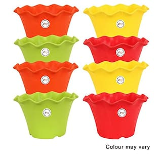 Gamla/Planter 8 inch stylised cut mouth colourful design Grainy Matte feel texture (set of 8 plastic Planter) Multicolor planter (colour may vary) for Home Garden Balcony Garden