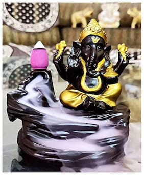 Ganesha Statue with 10 scented sticks with backflow smoke /Ganpati Statue with scented smoke backflow