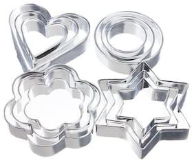 Gayatri 12pc Stainless  Baking Mold Round Heart Flower Star Shape Omelette Mold Cookie Biscuit Cutter Decorating Moulds