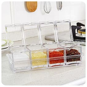 Gayatri 1pc  Acrylic Spice Container Jar Condiment Dispenser Salt Seasoning Box