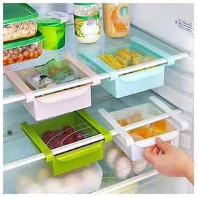 Gayatri 3pc Multifuction Plastic Kitchen Refrigerator Storage Rack Home Fridge Shelf tray