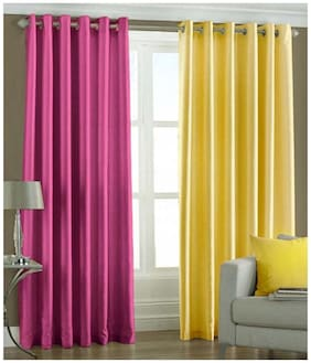 Geo Nature Polyester Eyelet Door Curtains (7x4 ft) - Set Of 2