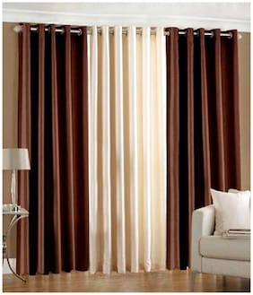 Geo Nature Polyester Multicolor Door Curtains (4x7 ft) -Set Of 3
