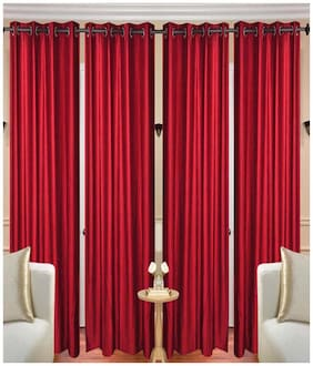 Geo Nature Polyester Eyelet Door Curtains (7x4 ft) - Set Of 4
