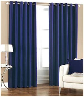 Geo Nature Polyester Blue Door Curtains (4x7 ft) -Set Of 2