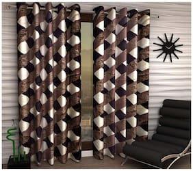 Geonature Polyester Window Room Darkening Brown Regular Curtain ( Eyelet Closure , Floral )