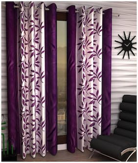 Geonature Polyester Window Room Darkening Purple Regular Curtain ( Eyelet Closure , Floral )