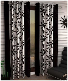 Geonature Polyester Window Room Darkening Black Regular Curtain ( Eyelet Closure , Floral )