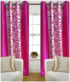 Geonature Polyester Window Room Darkening Pink Regular Curtain ( Eyelet Closure , Floral )