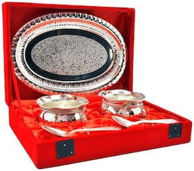 German Silver Bowl and Silver Plated Spoon and Silver Plated Tray with Beautiful Red Velvet Box Packing Exclusive Gift Items for Diwali Gift, Wedding Gift and Corporate Gift