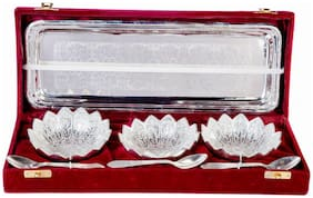 German Silver Lotus Bowl Set With Embossed Tray And 2 Spoon, 300 Ml Each Bowl Full Brass With Red Velvet Box (Set of 7 Pieces)