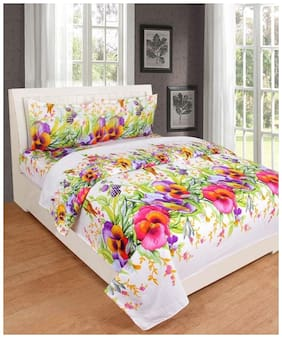 GETITBAE Hypoallergenic wrinkle free Bed Linens Exclusive Design Double Bed Sheet with @ king size Pillow Covers white Base flowers Multicolor