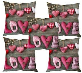 GH Decor Love print 16X16 inch cushion covers-set of 5