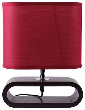 Giftadia Wooden & Stainless Steel Table Lamp With Shade - 8007