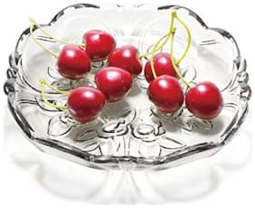 Gifts & Decor Glass Plate  for Dry Fruits and Home Decoration (Microwave Safe)