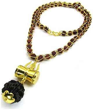 Gifts & Decor Beadworks 5 Mukhi Rudraksha Wired Bead Mala With Shiv Trishul & Damru Brass Necklace Brass Pendant Set