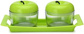 Gifts & Decor 2 Glass Serving Bowls With Plastic Lid And Tray Serving Set (Pack Of 3)
