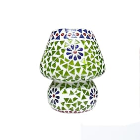 Gifts n Decor Green and Blue Shade Mosaic Style Dome shaped Glass Table Lamp with 40 W Incandescent Bulb For Corporate Gift and Home Decor
