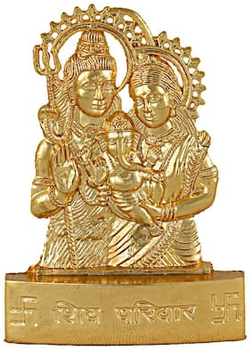 Maalgodam Gold Plated Idol;Statue of Shiv Parivar for Mandir;Temple;Car Dashboard