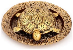 Gifts & Decor Oxidized Gold Plated Fengshui Metal Tortoise with Metal Plate for vastu and Good Luck Showpiece Gifts