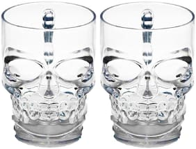Gifts & Decor Skull Face Beer Mug Drinking Glasses with Handle Set of 2