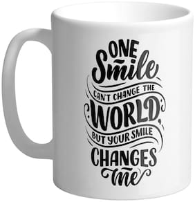 Giftszee One Smile Can Change World;Gift For Girlfriend;Boyfriend;Love Gift;Valentine Day Gift;Printed Ceramic Coffee Mug