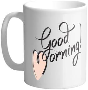 Giftszee Very Good Morning Wish quote;printed ceramic coffee mug (350 ml)