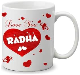 Giftszone Love u Radha Name White Mug;Best Gifts for Valentine's Day/Anniversary