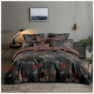 Gifty Microfiber Floral Queen Size Bedsheet 104 TC ( 1 Bedsheet With 2 Pillow Covers , Black )