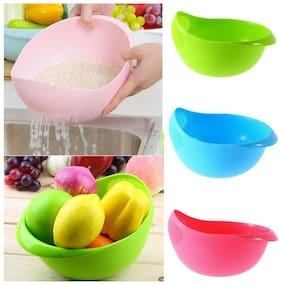 Gking Big Size Rice Pulses Fruits Vegetable Noodles Pasta Washing Bowl & Strainer by 4s Plastic Bowl