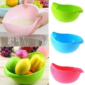 Gking Big Size Rice Pulses Fruits Vegetable Noodles Pasta Washing Bowl & Strainer by 4s Plastic Bowl (Pack of 2)