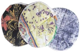 Gking Roti/Chapati Covers , Traditional Roti Rumals - 100% Pure Cotton Cover, Assorted Color & Design  (Set of 3, Round)