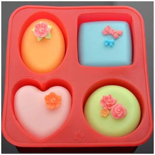 Glamaxy 4 Cavity Circle Square Oval Heart  Shape Silicone Mould For Soap Cookie Cake (Set Of 1)